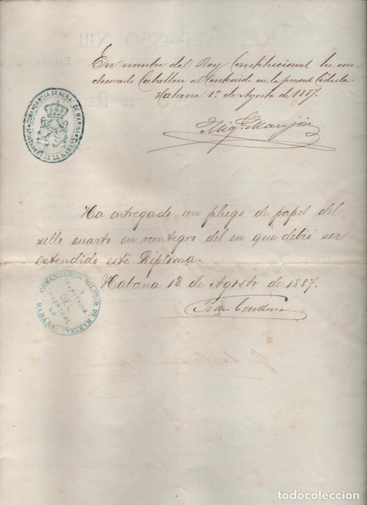Líneas de navegación: CRUZ DE PRIMERA CLASE AL D. FCO. JAUREGUIZAR. SALVAR VIDA BUQUE AMARICANO CITY OF MERIDA 1887,LEER - Foto 2 - 204075602