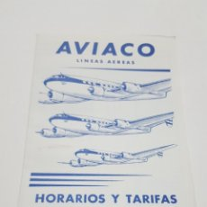 Linee di navigazione: AVIACO LINEAS AEREAS. HORARIO Y TARIFAS INVIERNO 1957-58 TIMETABLE & FARES. DESPLEGABLE. Lote 204636236