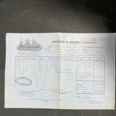 Linhas de navegação: CONOCIMIENTO DE EMBARQUE. A. LOPEZ. VERACRUZ. COMPAÑIA TRASATLANTICA. AÑO 1882. VER. Lote 205233343