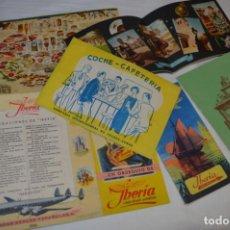 Líneas de navegación: IBERIA AÑOS 50/60 - LOTE ANTIGUOS DOCUMENTOS / CATÁLOGOS PASAJEROS - MUY CURIOSOS Y VARIADOS ¡MIRA!. Lote 198845186