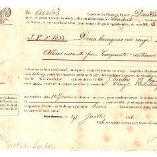 Líneas de navegación: CONOCIMIENTO EMBARQUE VAPOR DUBLIN DE BURDEOS A LONDRES AÑO 1866. BARRICAS DE VINO TINTO. Lote 205798230