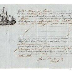 Líneas de navegación: CONOCIMIENTO EMBARQUE GOLETA LEOPOLDO DE BILBAO A GIJON. MIL QUINTALES DE HIERRO. 1860. Lote 205798572