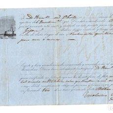 Líneas de navegación: CONOCIMIENTO EMBARQUE GOLETA PIEDAD DE BILBAO A GIJON. 900 QUINTALES DE HIERRO. 1858. Lote 205798920