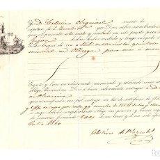 Líneas de navegación: CONOCIMIENTO EMBARQUE GOLETA DAME LA VIDA DE BILBAO A GIJON. 1400 QUINTALES MINERAL DE OLLARGAN 1860. Lote 205799175
