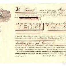 Líneas de navegación: CONOCIMIENTO EMBARQUE NAVIO REINE DES FLOTS DE BURDEOS A ROUEN. FRANCIA. 1865. BARRICAS VINO TINTO. Lote 205800647