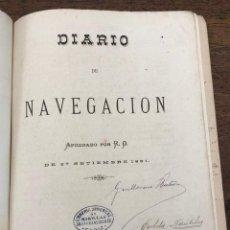 Líneas de navegación: DIARIO NAVEGACION CORBETA NAUTILUS. CADIZ 1890. OFICIAL GUARDAMARINA GUILLERMO BUTRON. Lote 205807833