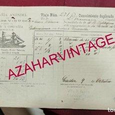 Líneas de navegación: CONOCIMIENTO DE EMBARQUE, 1905, VAPORES VINUESA, CADIZ - MARSELLA, VINOS DE JEREZ. Lote 207068228