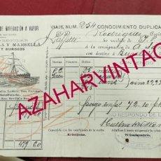 Líneas de navegación: CONOCIMIENTO DE EMBARQUE, 1902, VAPOR LAFFITTE, HUELVA - BURDEOS, VINOS DE JEREZ. Lote 207068525