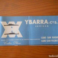 Líneas de navegación: YBARRA SEVILLA PLANO DE ACOMODACIONES CABO SAN ROQUE CABO SAN VICENTE. Lote 208074935
