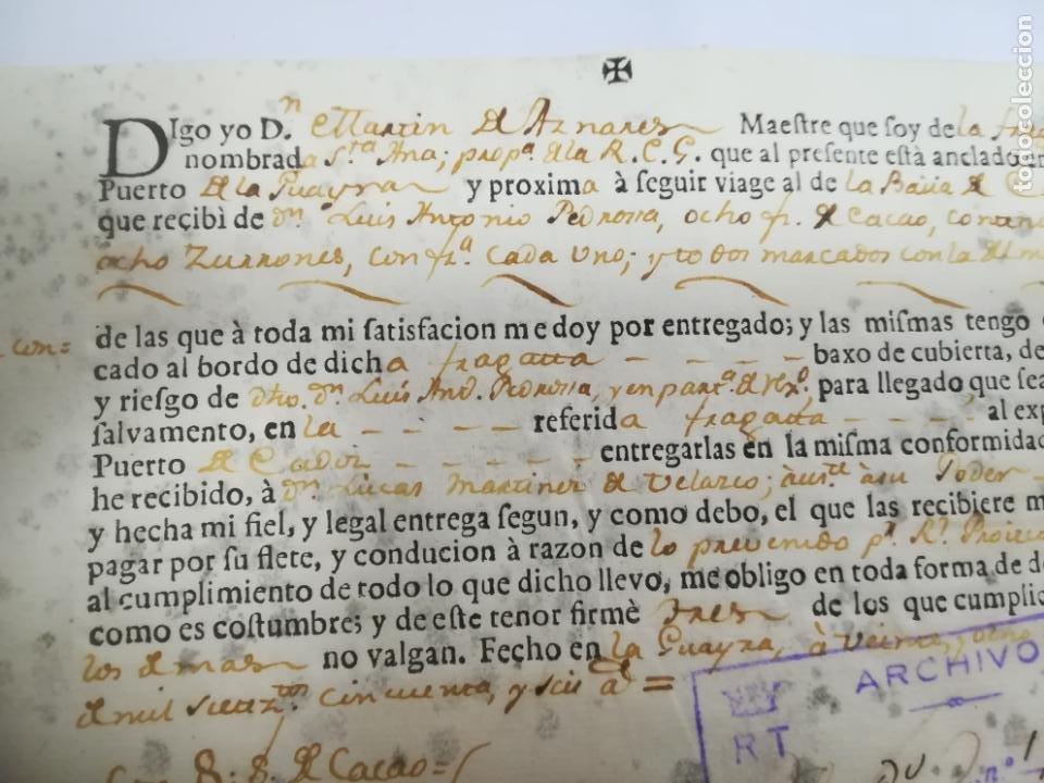 Líneas de navegación: DOCUMENTO DE EMBARQUE. FRAGATA SANTA ANA. PUERTO DE LA GUAIRA, VENEZUELA A CADIZ. CARGA CACAO. 1756 - Foto 2 - 208219675