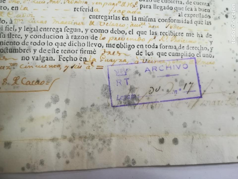 Líneas de navegación: DOCUMENTO DE EMBARQUE. FRAGATA SANTA ANA. PUERTO DE LA GUAIRA, VENEZUELA A CADIZ. CARGA CACAO. 1756 - Foto 3 - 208219675