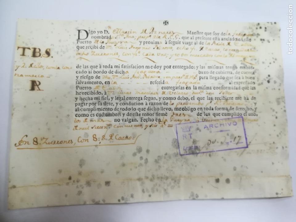 DOCUMENTO DE EMBARQUE. FRAGATA SANTA ANA. PUERTO DE LA GUAIRA, VENEZUELA A CADIZ. CARGA CACAO. 1756 (Coleccionismo - Líneas de Navegación)