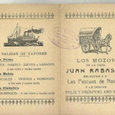 Líneas de navegación: C3.- LINEAS DE NAVEGACION-SALIDAS DE VAPORES A PALMA MAHON CIUDADELA-LOS MOZOS FELICITACION NAVIDEÑA. Lote 210370393