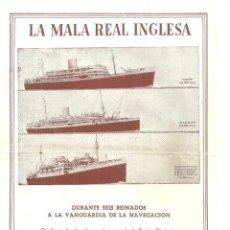 Líneas de navegación: 4024.- LINEAS DE NAVEGACION-LA MALA REAL INGLESA - EUROPA SUR AMERICA -VIAJES A PLACER. Lote 210948745