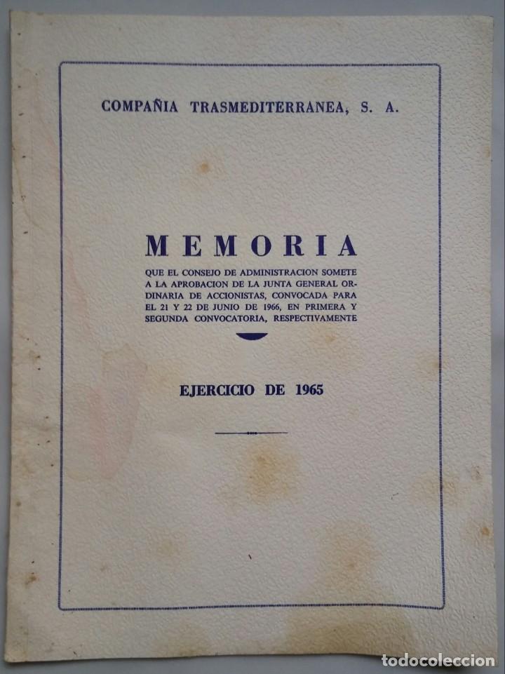 COMPAÑÍA TRASMEDITERRANEA S.A. - MEMORIA EJERCICIO 1965 - FOTOS BARCOS EN CONSTRUCCIÓN (Coleccionismo - Líneas de Navegación)