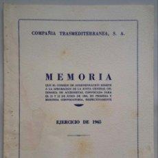 Linhas de navegação: COMPAÑÍA TRASMEDITERRANEA S.A. - MEMORIA EJERCICIO 1965 - FOTOS BARCOS EN CONSTRUCCIÓN. Lote 214747967