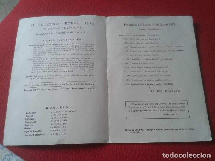Líneas de navegación: DÍPTICO PROGRAMA II CRUCERO EDESA 1973 XX YBARRA MOTONAVE CABO SAN VICENTE VIAJES ECUADOR BARCELONA. - Foto 4 - 218994590