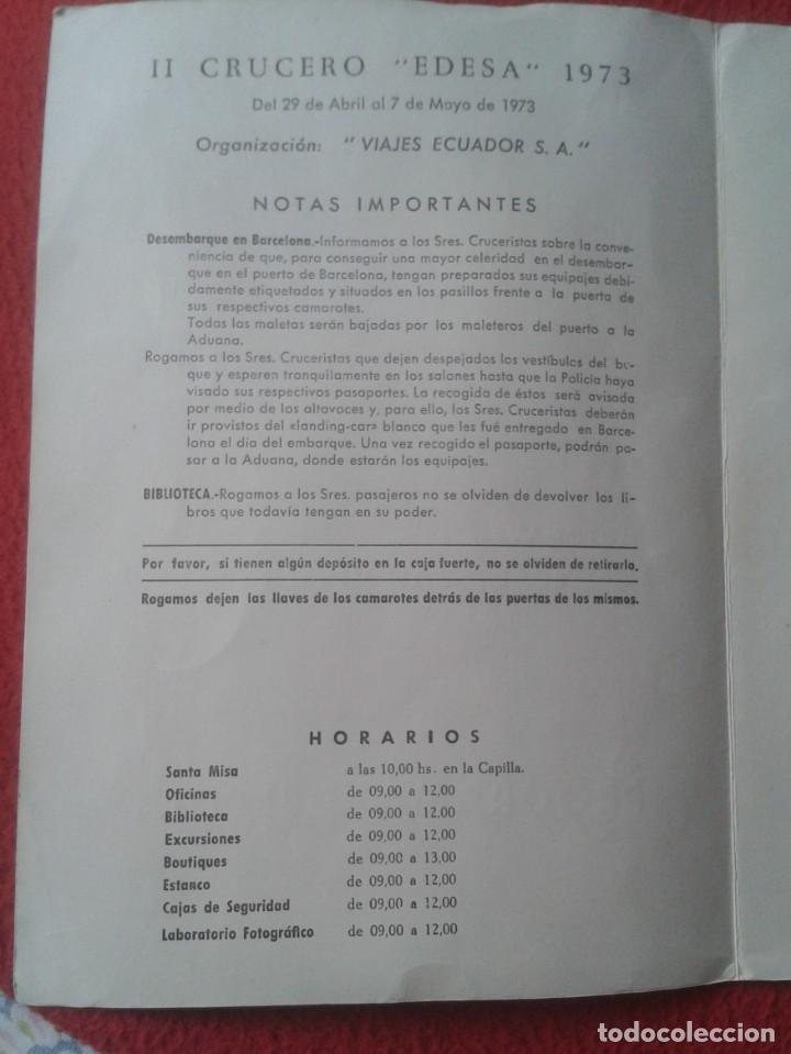 Líneas de navegación: DÍPTICO PROGRAMA II CRUCERO EDESA 1973 XX YBARRA MOTONAVE CABO SAN VICENTE VIAJES ECUADOR BARCELONA. - Foto 5 - 218994590