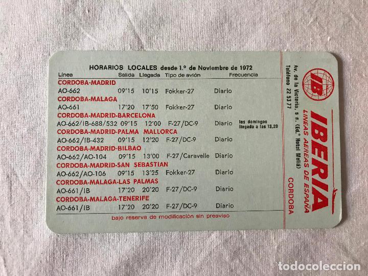 IBERIA LINEAS AEREAS CALENDARIO HORARIOS LOCALES DESDE CÓRDOBA DISTINTAS CIUDADES Y VICEVERSA 1972 (Coleccionismo - Líneas de Navegación)
