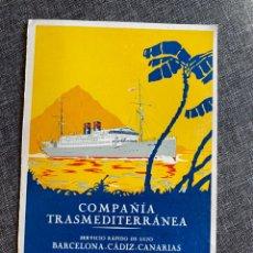 Líneas de navegación: TARGETA VIAJE INAUGURAL 1928 BUQUE INF MERCEDES. Lote 219826393