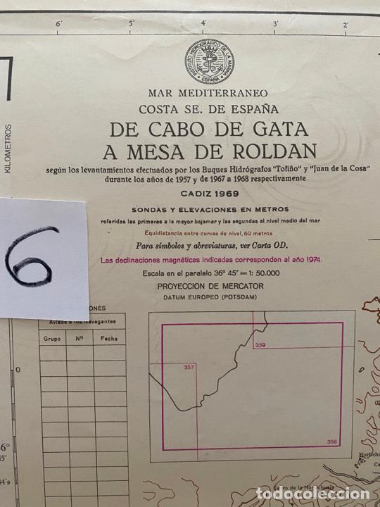Líneas de navegación: carta náutica , cabo de gata a mesa de roldan , cadiz , inst. hidrográfico de la marina 1975 - Foto 2 - 220356512