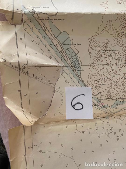 Líneas de navegación: carta náutica , cabo de gata a mesa de roldan , cadiz , inst. hidrográfico de la marina 1975 - Foto 3 - 220356512