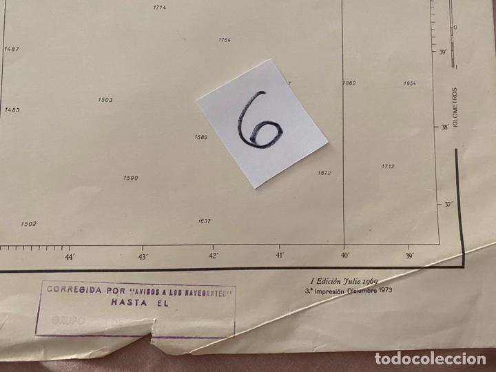 Líneas de navegación: carta náutica , cabo de gata a mesa de roldan , cadiz , inst. hidrográfico de la marina 1975 - Foto 7 - 220356512