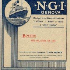 """Linee di navigazione: 1924 DÍPTICO DE LA NAVIGAZIONE GENERALE ITALIANA AGTES. EN ESPAÑA SOCIEDAD """"ITALIA AMÉRICA"""" PRECIOSO. Lote 220885748"""