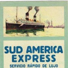 Líneas de navegación: 1923 SUD AMERICA EXPRESS SERVICIO RÁPIDO LUJO NAVÍOS AUXILIARES DE LA MARINA DE GUERRA N.G.I GÉNOVA. Lote 220891062