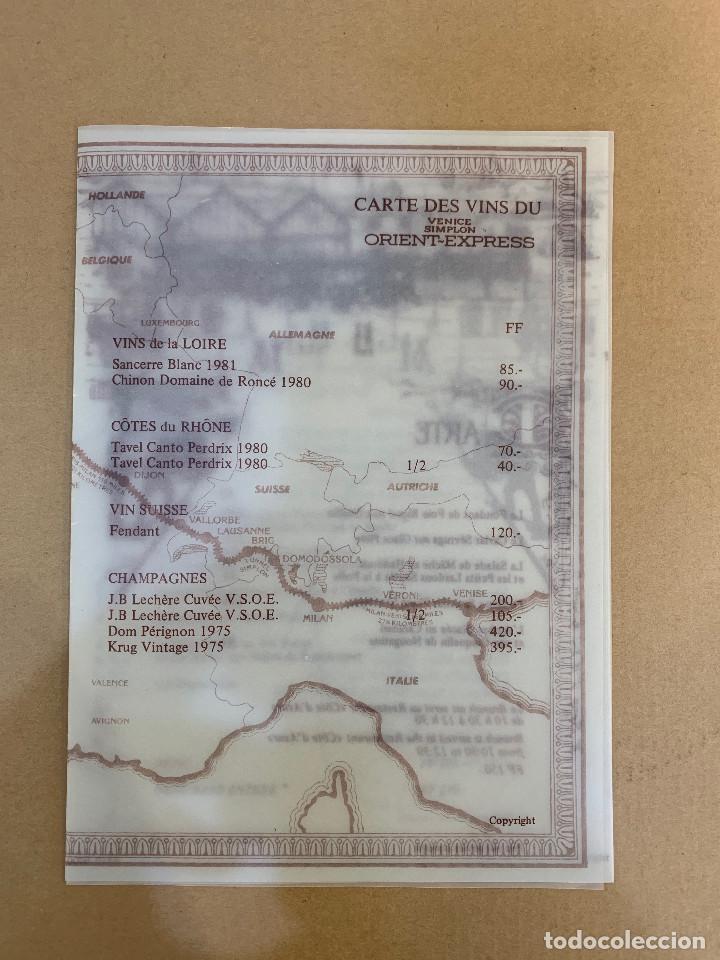 VENICE SIMPLON - ORIENT EXPRESS - MENU - CARTA DE VINOS - AÑOS 80 (Coleccionismo - Líneas de Navegación)