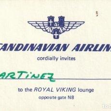 Líneas de navegación: ANTIGUA INVITACION DE SCANDINAVIAN AIR LINES PARA EL ROYAL VIKING CLUB DEL AEROPUERTO. Lote 233010345