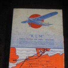Linee di navigazione: FOLLETO PUBLICIDAD KLM AIR LINES HOLLAND COMPPAÑIA AEREA HOLANDA AÑO 1932. Lote 234397600