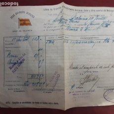Líneas de navegación: CONOCIMIENTO DE EMBARQUE. FLETE, VAPORES JOSÉ BORRÁS. VALENCIA. 1915. Lote 235803660