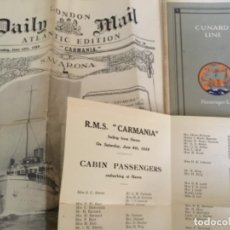 Líneas de navegación: CUNARD LINE, CARMANIA, DAILY MAIL LONDON 1928 DOCUMENTOS ORIGINALES. Lote 235927905