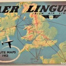 Líneas de navegación: GUÍA AER LENGUS, IRISH AIR LINES - MAPA DE RUTAS AÑO 1953 - CON TODAS SUS RUTAS - EN INGLÉS. Lote 236487765