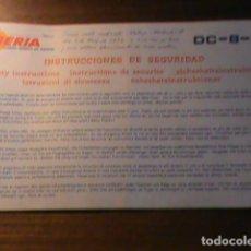 Linee di navigazione: INSTRUCCIONES SEGURIDAD IBERIA , DC-8-52 AÑO 1971. Lote 236700420