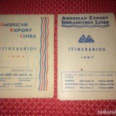 Líneas de navegación: AMERICAN EXPORT LINES Y AMERICAN EXPORT ISBRANDTSEN LINES - ITINERARIOS - AÑOS 1959 Y 1967. Lote 242419470