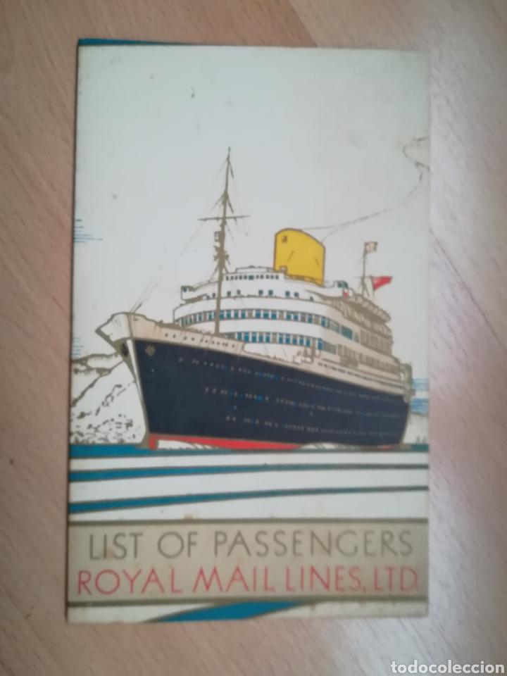 ROYAL MAIL. LIST OF PASSENGERS. R.M.S. ANDES. 1949. (Coleccionismo - Líneas de Navegación)
