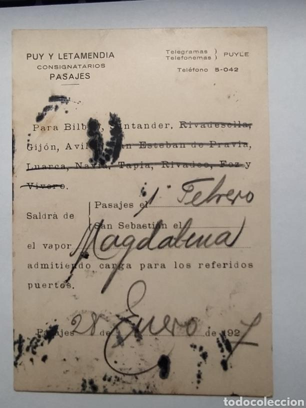 AÑO 1927. PUY Y LETAMENDIA. CONSIGNATARIOS. PASAJES. ITINERARIO VAPOR MAGDALENA. REMITIDO A LA REAL (Coleccionismo - Líneas de Navegación)