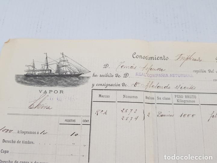 Líneas de navegación: REAL COMPAÑIA ASTURIANA CORUÑA GALICIA DOCUMENTO FLETE 1893 - Foto 2 - 248177490