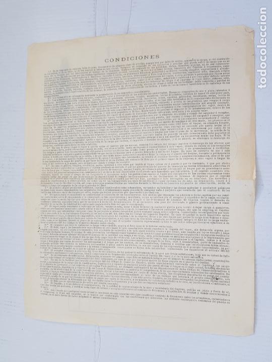 Líneas de navegación: REAL COMPAÑIA ASTURIANA CORUÑA GALICIA DOCUMENTO FLETE 1893 - Foto 3 - 248177490