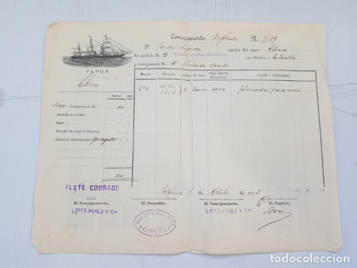 REAL COMPAÑIA ASTURIANA CORUÑA GALICIA DOCUMENTO FLETE 1893 (Coleccionismo - Líneas de Navegación)