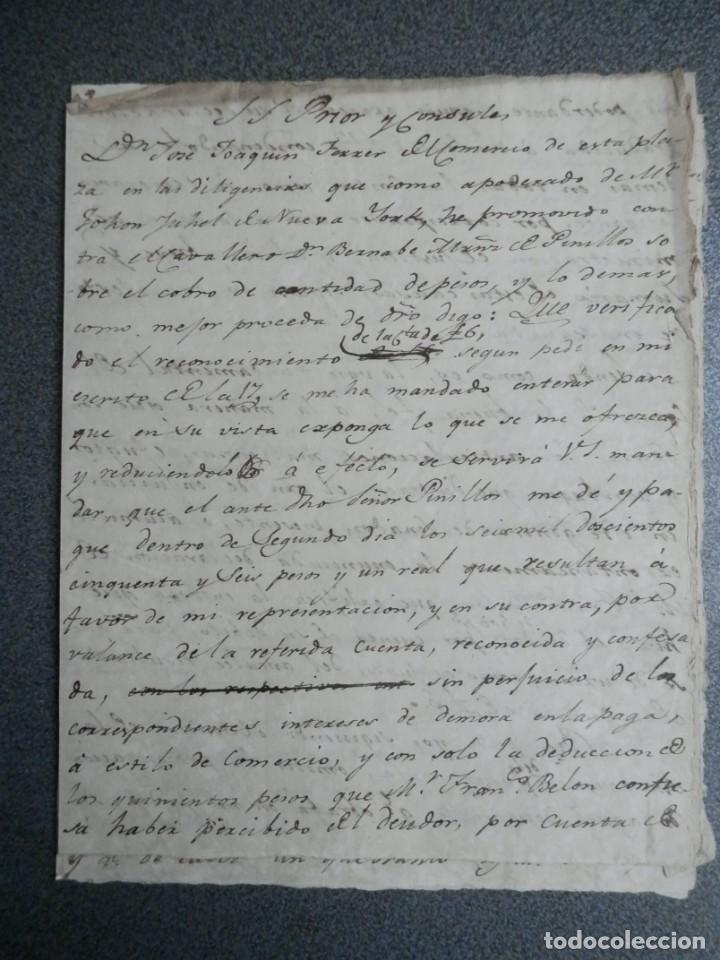 MANUSCRITO AÑO 1802 PLEITO CONTRA Cª NAVEGACIÓN PINILLOS POR CLIENTE NUEVA YORK - TABACOS (Coleccionismo - Líneas de Navegación)