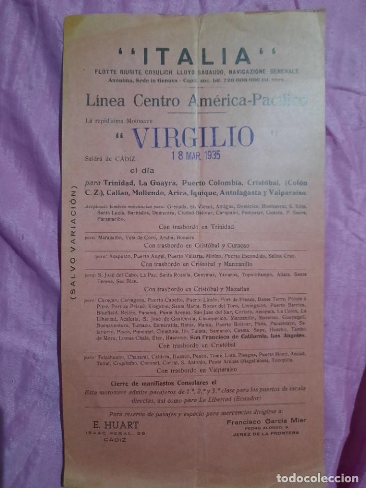 ITALIA.LINEA CENTRO AMERICANA-PACIFICO.VIRGILIO.SALIDA DESDE CÁDIZ. (Coleccionismo - Líneas de Navegación)