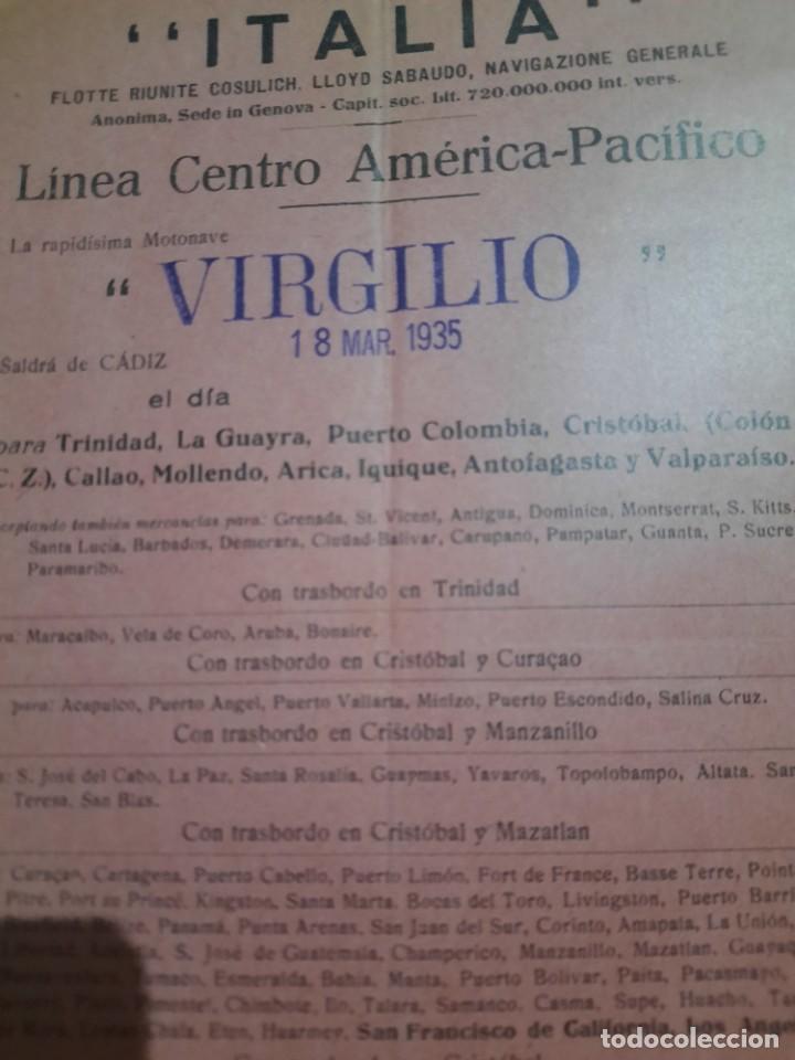 Líneas de navegación: ITALIA.Linea centro Americana-Pacifico.Virgilio.salida desde Cádiz. - Foto 3 - 252610635