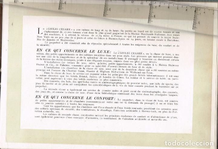 """Líneas de navegación: 1924 ALBUM DEL TRASATLÁNTICO """"GIULIO CESARE"""" + 2 Cartas publicitarias iguales de la Naviera - Foto 3 - 252659140"""