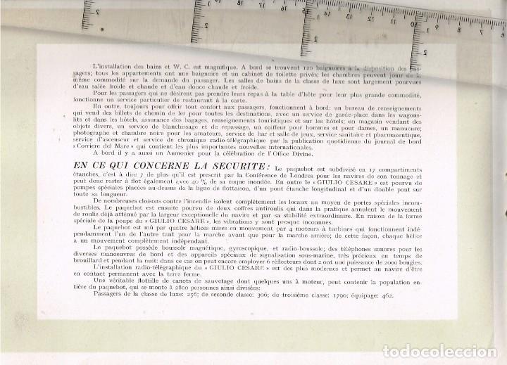 """Líneas de navegación: 1924 ALBUM DEL TRASATLÁNTICO """"GIULIO CESARE"""" + 2 Cartas publicitarias iguales de la Naviera - Foto 4 - 252659140"""