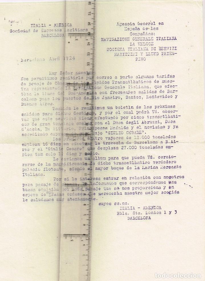 """Líneas de navegación: 1924 ALBUM DEL TRASATLÁNTICO """"GIULIO CESARE"""" + 2 Cartas publicitarias iguales de la Naviera - Foto 15 - 252659140"""