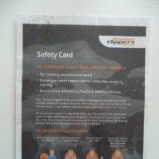Líneas de navegación: BARCO / TARJETA DE SEGURIDAD DEL BARCO THAMES CLIPPERS LONDON UK SAFETY INSTRUCTION CARD ESCAPE PLAN. Lote 254129345
