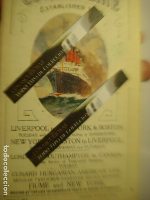CUNARD LINE - TRASATLANTICOS LUSITANIA Y FRANCONIA - AÑO 1911 PIEZA DE MUSEO - FOLLETO EUROPA USA (Coleccionismo - Líneas de Navegación)